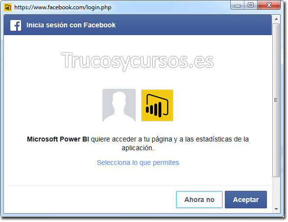 Power BI con Facebook: Confirmar la conexión.