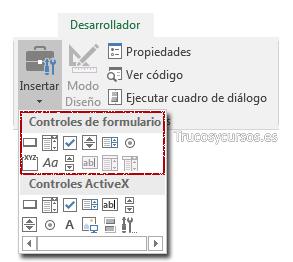 Pestaña Excel: Desarrollador; Grupo Insertar; controles de formulario