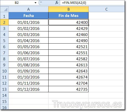 Hoja Excel mostrando en B2 el último día del mes como número de serie de fecha