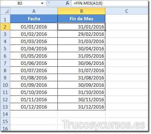 Hoja Excel mostrando en B2 el último día del mes con formato de celda fecha