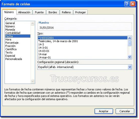 Cuadro de diálogo de formato de celdas; Fecha tipo: dd/mm/aaaa