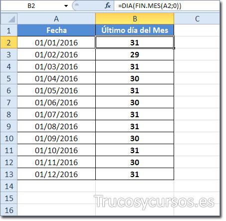 El Ultimo Dia Del Mes O El Numero De Dias Del Mes En Excel Trucos
