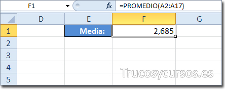 Celda F1 con función =PROMEDIO(A2:A17)