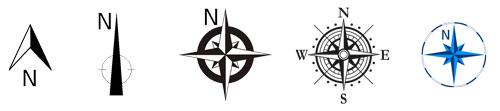 Diseño de Mapa: Mostrando diferentes tipos de flecha norte