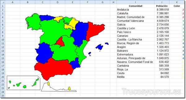 Vista del mapa con colores y los datos representados