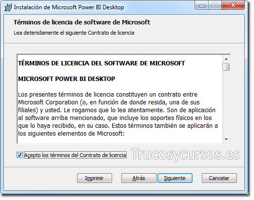 Asistente Power BI Desktop: Términos de licencia