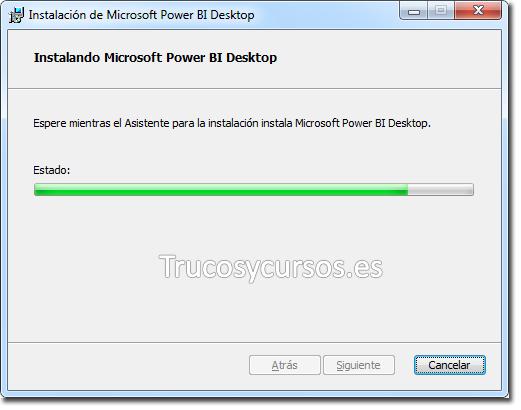 Asistente Power BI Desktop: Procediendo con la instalación