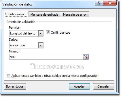 Cuadro de diálogo de validación con opciones de configuración