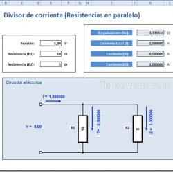 Circuito divisor de corriente (Resistencias en paralelo) en Excel