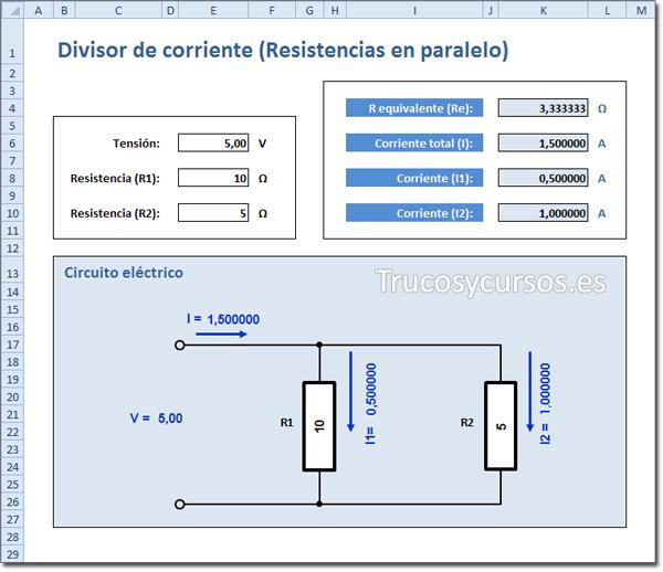 Simuador Excel: Circuito divisor de corriente (Resistencias en paralelo) en Excel