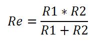 Fórmula resistencia equivalente Re=(R1*R2)/(R1+R2)