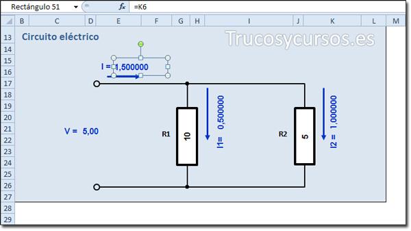 Hoja Excel con valores insertados en el esquema eléctrico