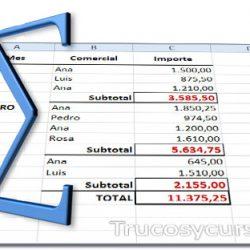 Suma en subtotales con rangos discontinuos en Excel