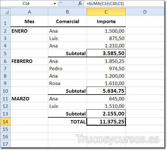 Hoja de Excel con el total en C14 del rango C2:C13