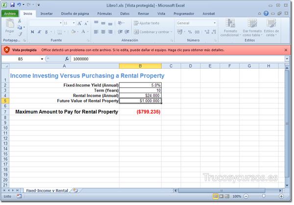Libro de Excel abierto en vista protegida.