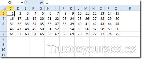 Hoja Excel con celda C3 con relleno de números