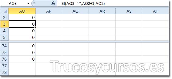 """Hoja Excel con celda AO3 con función =SI(AQ3="""" """";AO2+1;AO2)"""