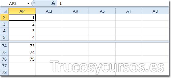 Hoja Excel con celda AP2 con valor 1 del relleno