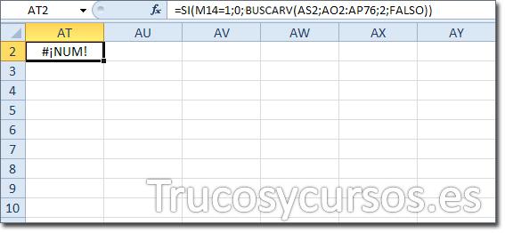 Hoja Excel con celda AT2 con función =SI(M14=1;0;BUSCARV(AS2;AO2:AP76;2;FALSO))