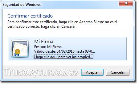 Ventana de Seguridad Windows Certificado proyecto VBA Excel