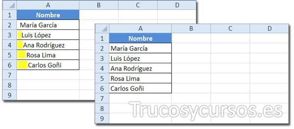 Hoja Excel con datos que incluyen espacios a la izquierda del texto y sin ellos