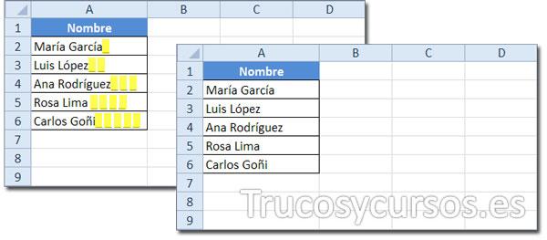 Hoja Excel con datos que incluyen espacios a la derecha del texto y sin ellos