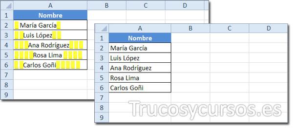 Hoja Excel con datos que incluyen espacios a la izquierda y a la derecha del texto y sin ellos