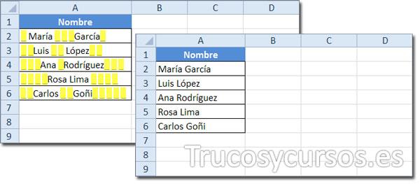 Hoja Excel con datos que incluyen espacios a la izquierda, a la derecha y entre palabras y sin espacios.
