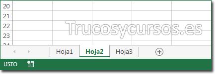 Barra de etiquetas de hojas Excel mostrando Hoja 1, 2 y 3
