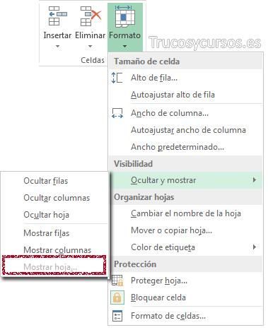 Cinta de opciones mostrando Formato / Ocultar y mostrar / Mostrar hoja (desactivado)