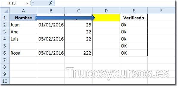 Hoja Excel: Celda activa A1 desplazada a D1
