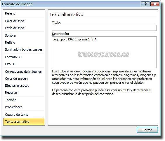 Ventana Excel 2010: Formato de imagen