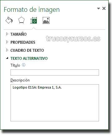 Imágenes accesibles: Ventana Excel 2013/2016, Tamaño y propiedades