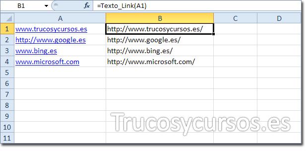 Hoja Excel con hipervinculo e hipervinculo como texto con función UDF