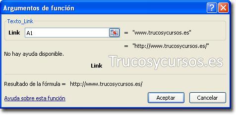 Dirección de Internet como texto en Excel: Asistente de funciones
