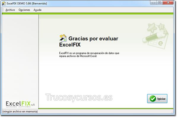 Recuperar archivo Excel: Pantalla de bienvenida ExcelFIX