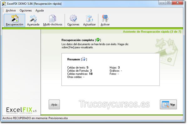 Recuperar archivo Excel con ExcelFIX: Resumen de recuperación.