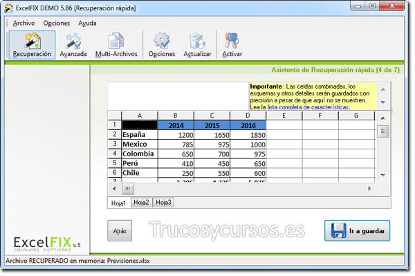 Recuperar archivo Excel con ExcelFIX: Vista previa de recuperación.
