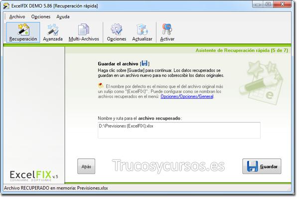 Recuperar archivo Excel con ExcelFIX: Guardar archivo.