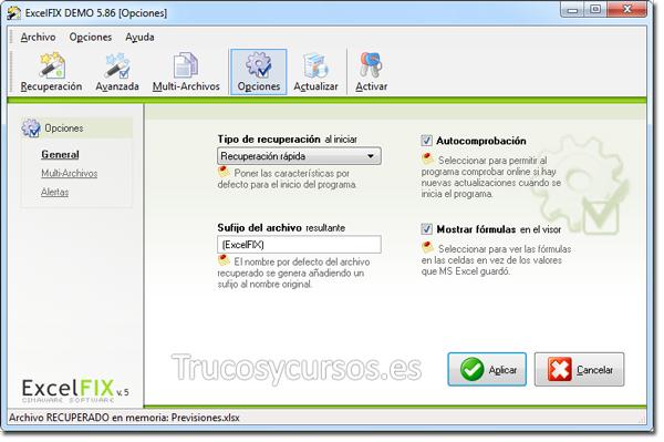 Recuperar archivo Excel con ExcelFIX: Opciones de recuperación.