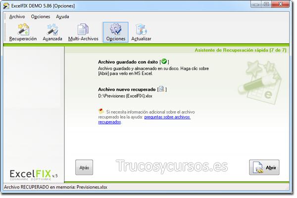 Recuperar archivo Excel con ExcelFIX: Archivo guardado con éxito