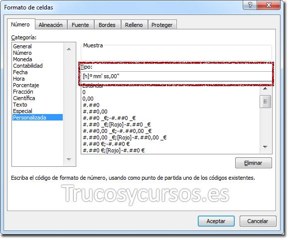 Ventana formato de celda Excel con formato personalizado: [h]° mm' ss,00''