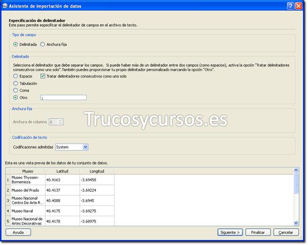 Ventana del asistente de importación de datos, especificación de delimitador