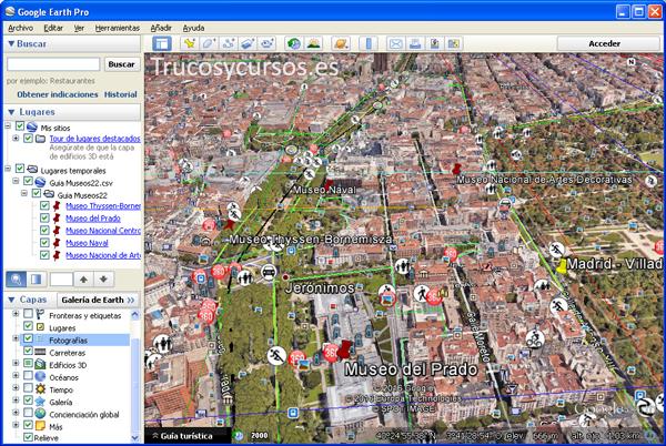 Vista de Google Earth pro con las etiquetas de los datos