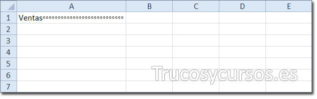 Hoja Excel con celda A1 mostrando relleno de carácter (signo de grado) junto al texto