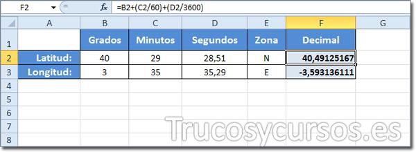 Hoja Excel con conversión de Sexagesimal a Decimal