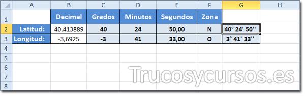 Hoja Excel con conversión de Decimal a Sexagesimal