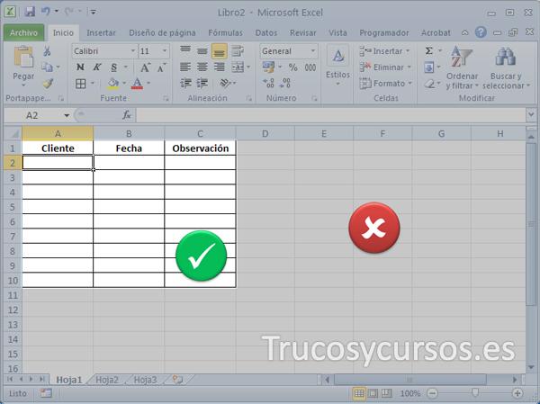 Limitar el área de trabajo de una hoja Excel