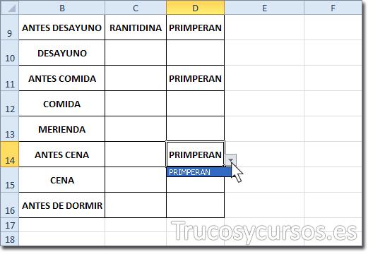Rango D9:D16 con el valor del medicamento de lista en D9, D11 y D14