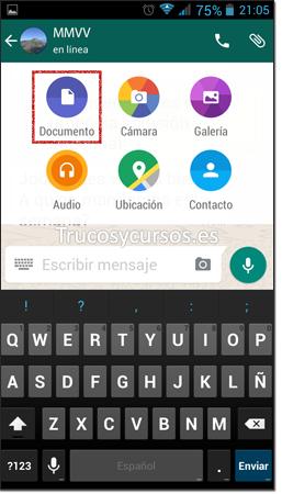 Whatsapp con ventana adjuntar documento